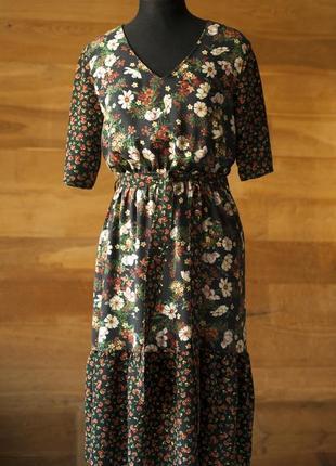 Черное летнее женское платье с цветочным принтом миди tu, размер l