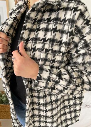 Тёплая рубашка в гусиную лапку✨2 фото