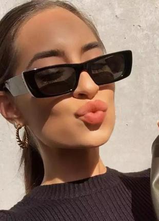 Тренд 2021 черные очки узкие солнцезащитные имиджевые ретро винтаж окуляри