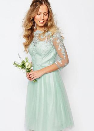 Новое роскошное, вечернее, праздничное миди платье с кружевом мятного цвета chi chi london
