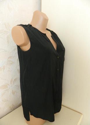 Стильная летняя рубашка esprit р. s чёрная  блуза безрукавка