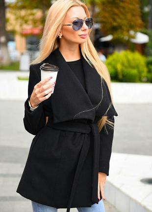 Черное трендовое пальто3 фото