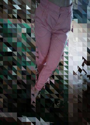 Штаны скинни узкачи розовые джинсы
