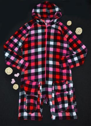 Пушистый тёплый плюшевый комбинезон пижама jennyfer клетка, размер l