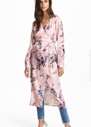 Стильное платье халат на запах, накидка h&m в цветочный принт.