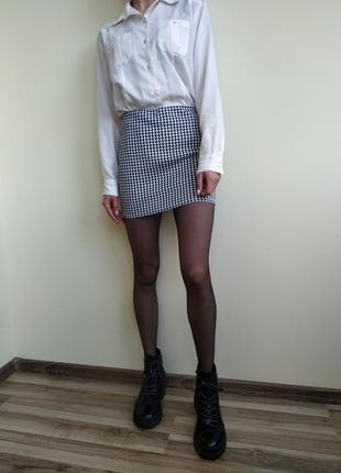 Женская юбка boohoo мини а гусиную лапку, міні спідниця