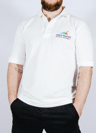 Мужская белая футболка-поло, чоловіча біла футболка-поло