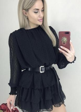 Шифоновое платье шифон горох зефирка с поясом плаття шифонове зефірка з поясом