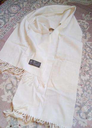 Белый шарф из чистой шерсти, новый