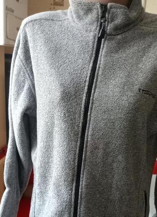 Куртка толстовка сіра на замочку флісова з кишенями trespass