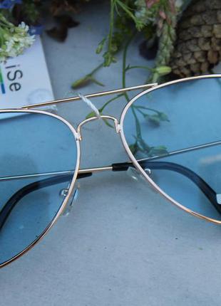 Новые модные очки авиаторы, голубые
