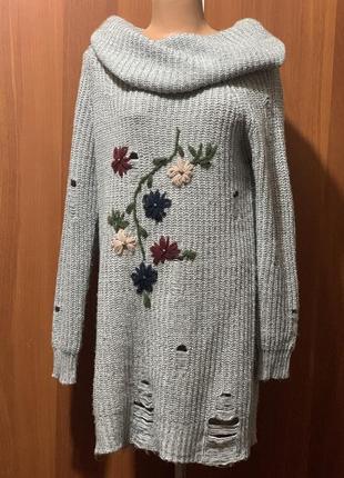 Шикарное платье свитер в дырку