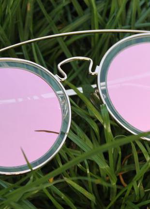 Новые крутые очки круглые, новинка 2017, розовая пудра