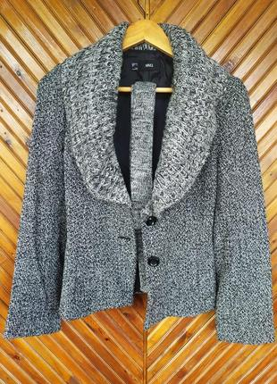 Теплый и красивый пиджак жакет манго с интересным вязаным воротником р. s