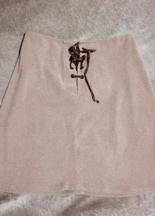 Бархатная юбка от mango на шнуровке