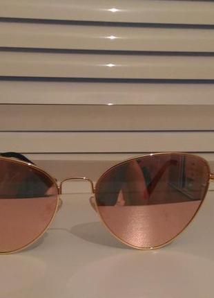 Розовые зеркальные очки лисички/cat eyes тренд 2017