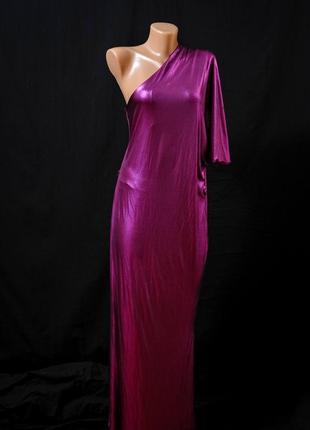 River island. платье длинное в пол, вечернее с металлическим блеском асимметричное