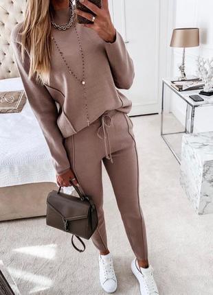 Женский брючный костюм со штанами демисезонный ангора