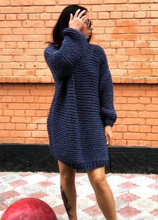 Вязаное платье оверсайз в темно-синем цвете💙