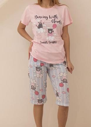 Натуральная хлопковая пижама /домашний костюм шорты/капри и футболка 42-50 турция