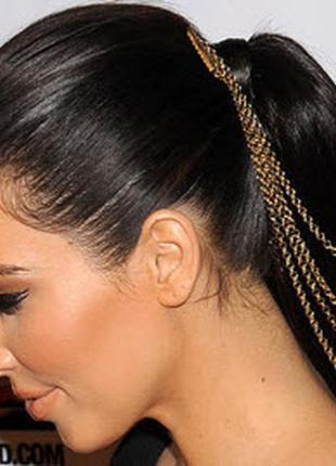 Длинные волосы хвост на гребне с лентами парик