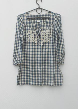Летняя нарядная блуза-вышиванка с рукавом 3/4 из хлопка