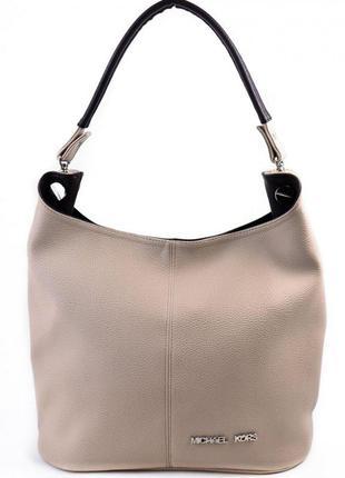 Бежевая сумка-мешок мягка стильная с ручкой на плечо