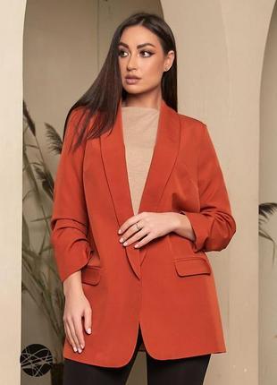 Удлиненный пиджак в оранжевом цвете  {блейзер}