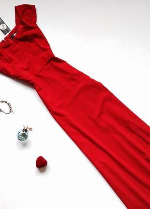 Длинное красное платье boohoo