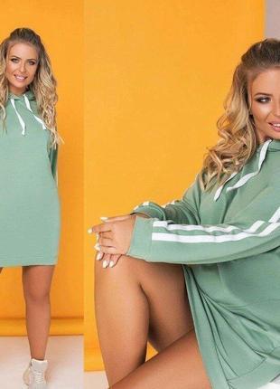 Спортивное платье с капюшоном и карманами- платье большого размера- цвет нежный оливковый