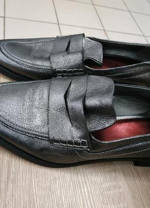 Женские кожаные туфли zara р.40,лофферы , лоферы