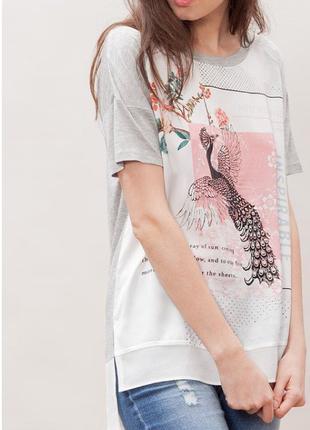 Комбинированная футболка с ярким принтом жар-птица stradivarius рр s