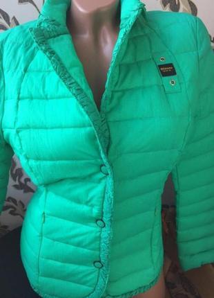 Blauer u.s.a новая пуховая стеганая куртка стеганка салатовая размер м