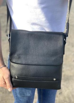 Мужская кожаная сумка мессенджер через плечо черный / мужские сумки