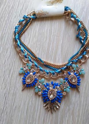 Синее ожерелье колье подвеска украшение