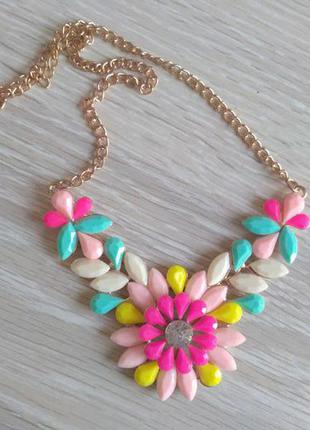 Разноцветное ожерелье колье подвеска