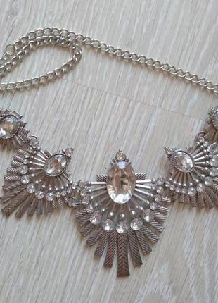 Серое серебристое ожерелье колье подвеска