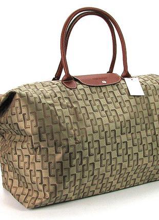 Большая текстильная дорожная женская сумка цвета хаки