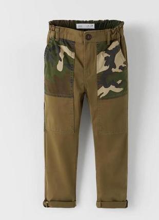 Штаны военного цвета хаки для мальчика от zara