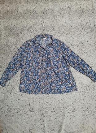 Вискозная рубашка, чиняя рубашка с узором, батал, большой размер