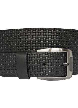 Кожаный мужской  ремень  черный с тиснением для джинсов timeless