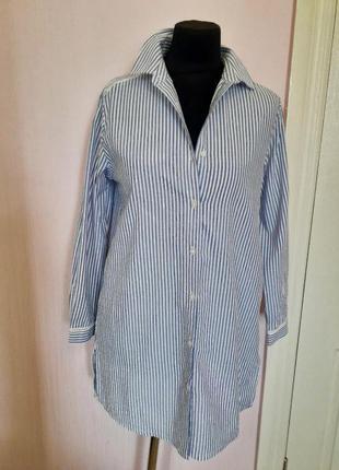 Платье рубашка, пижамного стиля, удлиненная, в полоску на пуговицах