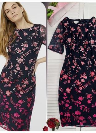 Платье миди с вышивкой monsoon цветочный принт