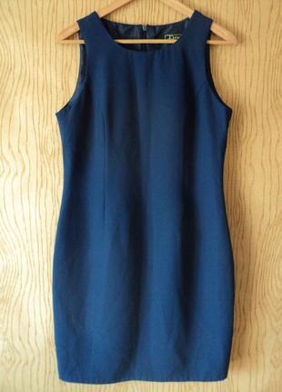 Платье футляр чехол женское синее без рукава миди колена фигуре летнее классическое
