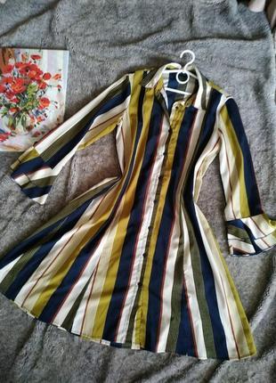 Платье рубашка, длинная туника, платье в полоску на пуговицах