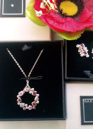 Великолепный набор сережки, подвеска с кристалами swarovski mary kay, мери кей