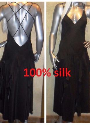 Эксклюзивное коктейльное шелковое черное с открытой спиной платье reiss  xs-m 121 ... 370433f6137