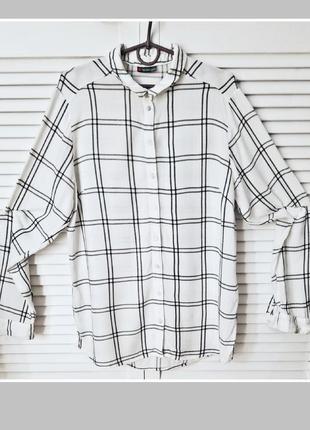 Вискоза легкая натуральная рубашка оверсайз рубашка в клетку