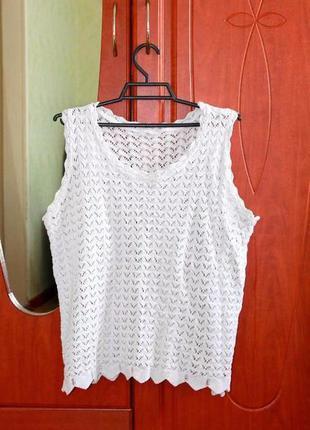 Новая школьная ажурная белая блуза безрукавка
