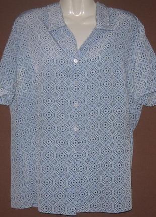 Блузка женская голубая с коротким рукавом, на пуговицах. большой размер. см мерочки